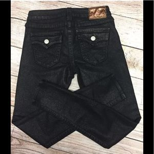 True Religion Gold Sparkle Black Skinny Jeans 26